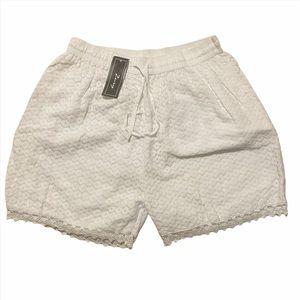 ZURY white lace crochet shorts one size NWT